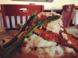 blackened cobia with a lobster relish over mashed potatoes with a lobster fennel sauce and asparagus. #lunch #fishhousepensacola #fattuesday