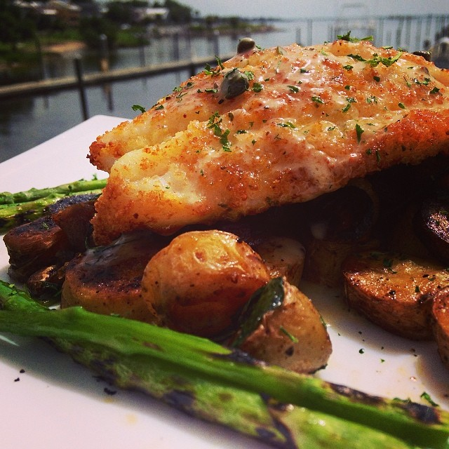 Parmesan crusted grouper, over a fingerling potato hash served with a ...