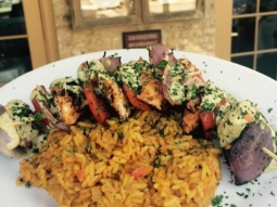 It's a perfect day to come join us for lunch at #JacksonsRestaurant !  Chef has prepared a delicious business feature this morning:  Grilled chicken & veggie skewers, yellow rice, onions, peppers, with roasted poblano, tomato aioli & parsley.  #VisitPensacola #VISITFLORIDA