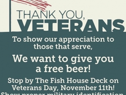 To show our appreciation to those that serve, we want to give you a FREE BEER! Stop by The Fish House Deck on Veterans Day, TODAY, November 11th from 7-9 p.m, and get free draft beer with proper military identification!  Thank you!  #veteransday #downtownpensacola #pcola #pensacolafishhouse #upsideofflorida #lovefl #military