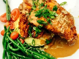 Today's special: Chicken fried amberjack over Gouda grits with sautéed green beans!