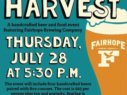 Hops and Harvest featuring Fairhope Brewing Company is next week! Reservations required. Call 850-316-7716 NOW to make a reservation!