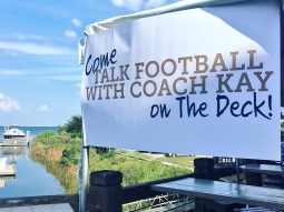 It's a beautiful evening to Talk Football with Coach Kay Stephenson! Join us on The Deck + it is Happy Hour! @blabtvpensacola