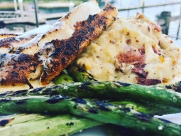 Today's lunch special is blackened mahi over pepper jack and bacon mashed potatoes served with grilled asparagus and finished with buerre blanc