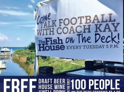 """Come """"Talk Football"""" with Coach Kay Stephenson tonight! The first 100 people on the Fish House Deck Bar to watch the show will get a free draft beer, well drink, or house wine (starting at 4:30)! Filming for the live broadcast begins at 5:00! Coach will be talking about highlights from college football, pro football and our own UWF Argos!"""