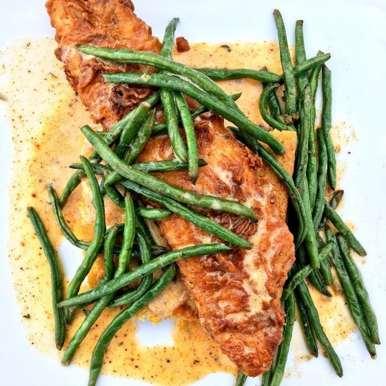 Time to eat! Come see us for lunch! Chicken fried red fish over spoon bread with blackened butter and served with sautéed green beans! #fishhousepensacola #pensacola #downtownpensacola #fishoftheday #fish