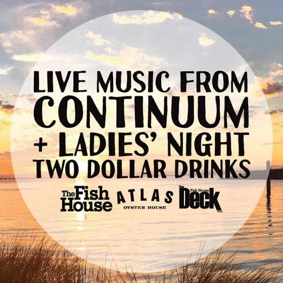Tonight!!!! Ladies' night $2 drinks and live music from @continuumsound ...does it get any better?!?! Let's party like it's the weekend! (Continuum will be on The Deck this weekend on Friday and Saturday night too) ???????#DowntownPensacola #ladiesnight #pcola #pensacola #upsideofflorida
