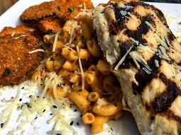 Let's do lunch. Today's lunch fish special is: ?Grilled mahi over Cajun crawfish Mac n cheese served with fried zucchini and finished with fresh grated Parmesan cheese!