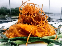 Time to eat! Have your lunch at our house today! Today's fish special is ?Pecan crusted mahi over sweet potato mash served with grilled asparagus and finished with jack Daniels glaze and sweet potato hay!?