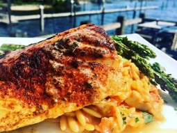 Let's do lunch! It feels amazing outside in #downtownpensacola! Today's lunch special: Blackened mahi mahi served over orzo pasta with roasted chicken and smoked andouille sausage served with grilled asparagus and citrus butter sauce?.