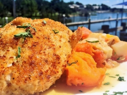 Another perfect day in paradise... let's eat! Today's special: ?Andouille crusted trigger fish over orange glazed sweet potatoes finished with crawfish aioli and served with a sauté of ratatouille. ?#fishhousepensacola #downtownpensacola