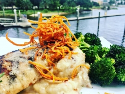 Happy Wednesday! Let's eat! Today's special: Grilled mahi over pepper jack cheese and bacon mashed potatoes served with garlic roasted broccoli and finished with meunière sauce?!