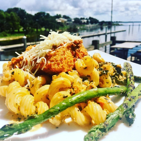 ?Come eat with us! Today's special: Chicken fried mahi over cavatappi pasta with sundries tomato and kale cream sauce served with grilled asparagus and finished with Parmesan cheese?