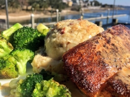 We are open! Get out of the cold and make the most of your day off of work or school by having lunch with us! Today's special is ?Blackened mahi over pepperjack cheese and bacon mashed potatoes served with garlic roasted broccoli and finished with blackened butter sauce. ?