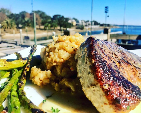 Eat your lunch at our house! Today's lunch special: ?Blackened sword fish over dirty risotto served with grilled asparagus and finished with lemon buerre blanc!