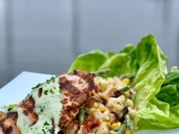 Looking for the perfect place to celebrate Valentine's Day? Join us at the Fish House for our special Valentine's Day lunch feature! Grilled salmon served over a marinated salad of fresh corn, roasted potato, green beans, cucumber, Roma tomatoes and zipper peas resting over Bibb lettuce and finished with Green Goddess dressing. #happyvalentinesday  #fishhousepensacola #downtownpensacola #upsideofflorida