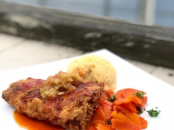 Who else is enjoying this beautiful weather in downtown Pensacola? Join us on the deck for our daily lunch special! Ginger fried mahi over gouda cheese grits topped with pineapple chutney served with honey glazed carrots and finished with sweet and sour sauce. #fishhousepensacola #downtownpensacola #upsideofflorida