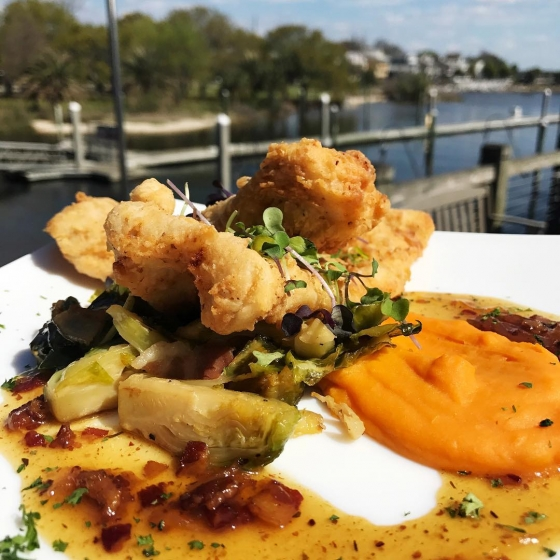 Head over to the Fish House for lunch today! Our daily special is pecan fried grouper over sweet potato pureé, red ale brussel sprouts, Steen's-Bacon vinaigrette, and finished with micro greens.  #fishhousepensacola #downtownpensacola #upsideofflorida