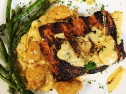 Come eat with us! Today's special is blackened mahi over rice noodles tossed with lobster fennel sauce and served with grilled asparagus and fried jumbo lump crab. #fishhousepensacola #downtownpensacola #upsideofflorida