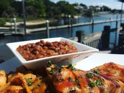 It's lunch time! Today's special: Meyer lemon honey BBQ glazed mahi over Cajun hash and BBQ baked beans. YUM!