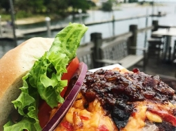 "Did you know May is National Burger Month?! We will be featuring a different burger every week during the month of May for lunch!  This week we are featuring ""The Bourbon Street Burger"" topped with smokey pimento cheese and bourbon bacon jam.  Atlas will also be open for lunch today from 11am-3pm!"