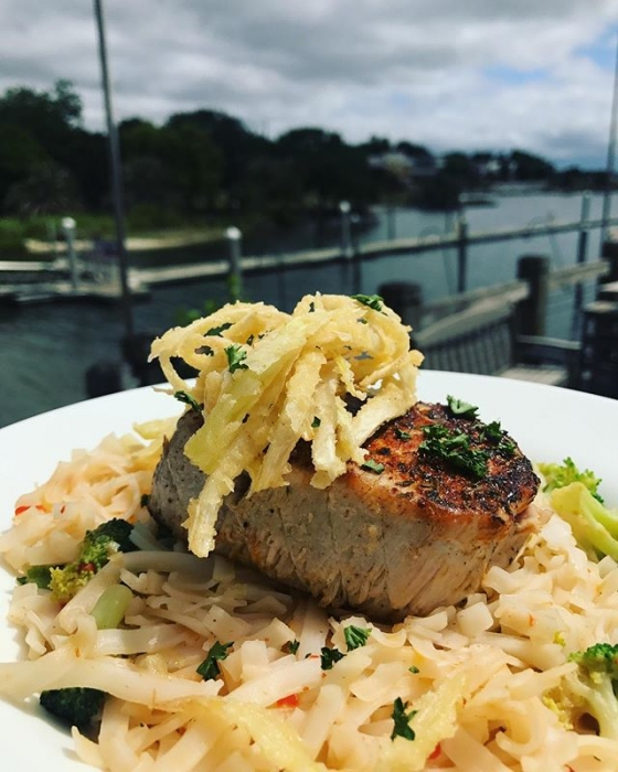 Happy Monday! Start your week right with lunch at our house! Today's special: Blackened tuna over rice noodles, broccoli florets, tossed in a sweet and spicy chili peanut sauce, topped with leek hay