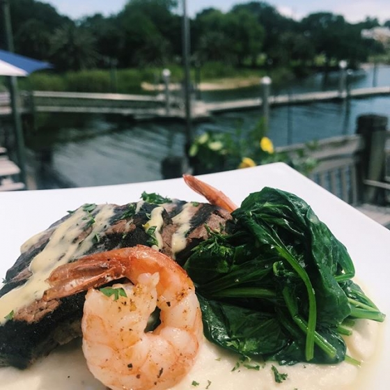 Happy Friday! Come kickoff the weekend with lunch at our house! Today's special: Grilled filet medallions and grilled shrimp, over potato purée, sautéed spinach, and finished with béarnaise sauce