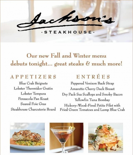 Our new fall menu debuts tonight! Your new favorite dish is waiting!  Downtown Pensacola | SOGO District Pensacola |  #JacksonsRestaurant