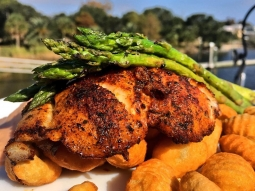 Happy Wednesday! Today's lunch special: ?Blackened grouper over fried potato gnocchi served with grilled asparagus with tomato cream sauce and Parmesan cheese! ?