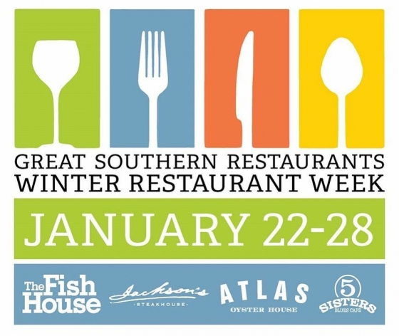 "Great Southern Restaurants Winter Restaurant Week starts tonight!  The Fish House, Jackson's Steakhouse, Atlas Oyster House and Five Sisters Blues Café will once again team up to present Winter Restaurant Week, January 22–28, 2018. In step with similar events in cities all around the country, Restaurant Week is a culinary celebration that offers residents and visitors alike world-class dining at a great value.  Now in its eigth year, the Great Southern Restaurant's Restaurant Week continues to be a great winter hit with both locals and visitors.  Chefs from each restaurant will prepare a three-course, fixed-price dinner menu utilizing the best in local and seasonal ingredients, showcasing their culinary expertise, for $33.00 per person, per restaurant. Diners are encouraged to try each special menu at all four restaurants during Restaurant Week. Menus will be available at each restaurant Monday, January 22, through Sunday, January 28, beginning at 5:00 p.m. along with our standard dinner menus. ""Restaurant Week continues to highlight Pensacola as a premier dining destination, providing an opportunity to enjoy a special menu from each of the restaurants,"" said Collier Merrill, president of Great Southern Restaurants. ""This will give everybody another occasion to enjoy a great evening in Downtown Pensacola."""