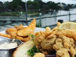 """Let's have lunch!  Today's special: """"Peace Maker"""" Po' boy with bacon, mayo, fried shrimp and oysters"""