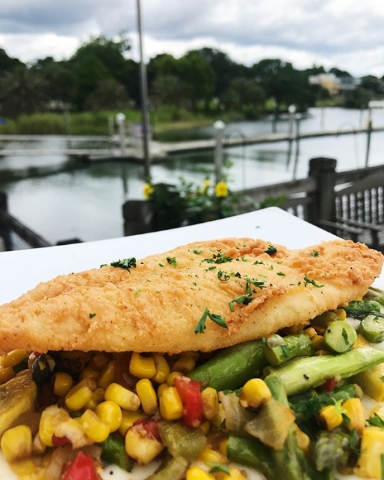 Happy Tuesday! Today's special: Fried flounder over vegetable medley and a Parmesan potato purée. Enjoy!