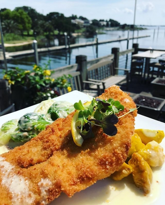 TGIF! Let's have lunch! Today's special: Ginger fried flounder over a sauté of Brussels sprouts in a bacon Parmesan cheese sauce, alongside roasted baby sunburst squash