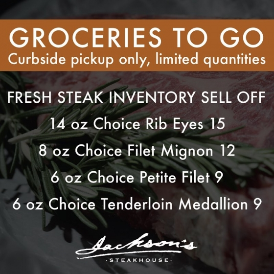 Groceries to Go: Steak and Wine Sell Off!? ? Today, beginning at 11:00 a.m., we will be set up out front, offering curbside shopping of our full inventory of fresh steaks at deeply discounted prices as well as our entire wine inventory 50% off. Limited quantities. ? ? Now is the time to stock up Pensacola! Give us a call to place orders: (850) 469-9898